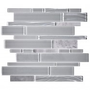 14.2 in. x 11.8 in. Glass and Stone Blend Strip Mosaic Tile - 8mm Thickness (DK-8NF0305-006)