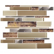 14.2 in. x 11.8 in. Glass Stone Blend Strip Mosaic Tile in Multi - 8mm Thickness (DK-AD808089)