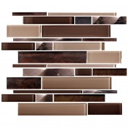 14.2 in. x 11.8 in. Glass Stone Blend Strip Mosaic Tile in Multi - 8mm Thickness (DK-AD808090)