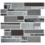13.2 in. x 11.8 in. Glass Stone Blend Strip Mosaic Tile in Multi - 8mm Thickness (DK-AD808097)
