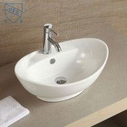 Decoraport White Oval Ceramic Above Counter Basin (CL-1038)