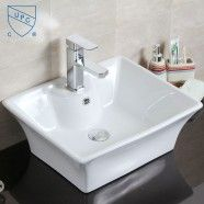 Decoraport White Rectangle Ceramic Above Counter Basin Vessel Vanity Sink (CL-1097)