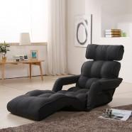 Black Grey Soft Linen Fabric Folding Floor Sofa Recliner (K16RS01-BG)