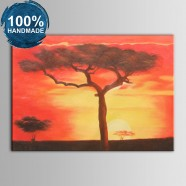 100% Hand Painted Abstract Sunset Glow Oil Painting (DK-JX-YH047)