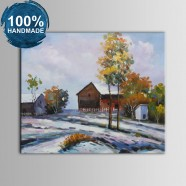 100% Hand Painted Abstract Farmhouse Oil Painting (DK-JX-YH043)
