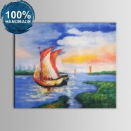 100% Hand Painted Abstract Seascape Oil Painting (DK-JX-YH033)