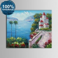 100% Hand Painted Abstract Mediterranean Landscape Oil Painting (DK-JX-YH031)