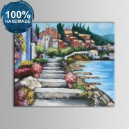 100% Hand Painted Abstract Mediterranean Landscape Oil Painting (DK-JX-YH038)