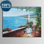100% Hand Painted Abstract Mediterranean Landscape Oil Painting (DK-JX-YH036)