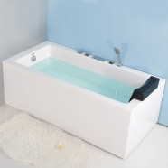 59 In Back to Wall Freestanding Bathtub with Drain - Acrylic White (DK-2002-1500L)