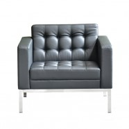 1 Seater/Black Lounge Chair Reception Guesting Seating in Mock Leather (SF-014-1)