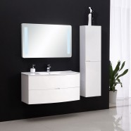 39 In. Wall-Mount Bathroom Vanity Set with LED Mirror and Side Cabinet (DK-8883-100)