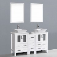 60 In. Bathroom Vanity Set with Double Sink and Mirror (DK-T9161-60W)