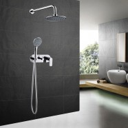 Bathroom Single Handle Tub and Shower Faucet - Brass with Chrome Finish (7540)
