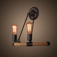 2-Light Iron Built Matte Black Vintage Rope Wall Sconce (DK-8108-B2)