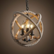 5-Light Iron Built Matte Black Vintage Rope Chandelier (DK-8103-D5)