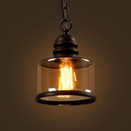 Iron Built Matte Black Vintage Pendant Light with Glass Shade (DK-2513-D1A)
