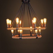 14-Light Iron Built Matte Black Vintage Rope Chandelier with 2 Tier (DK-8108-D8+6)