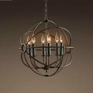 6-Light Iron Built Rust Vintage Globe Chandelier (DK-5013-D6)