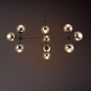 10-Light Iron Built Black Vintage Glass Ball Pendant Light (DK-5133-D10)