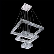 Rectangle Stainless Steel Built Modern LED Crystal Chandelier with Remote Control (DK-LD6115-3)