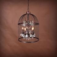 5-Light Iron Built Rust Vintage Birdcage Crystal Pendant Light (DK-5006-D5)