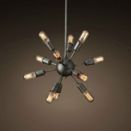 12-Light Iron Built Matte Black Vintage Sputnik Chandelier (DK-5010-D12A)