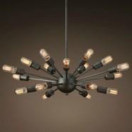 18-Light Iron Built Matte Black Vintage Sputnik Filament Chandelier (DK-5010-D18)