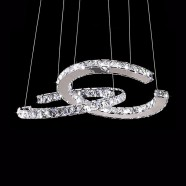 2-Ring Stainless Steel Built Modern LED Crystal Chandelier with Remote Control (DK-LD1171)