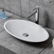 White Oval Artificial Stone Above Counter Bathroom Vessel Sink (DK-HB9006)