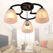 3-Light Black Wrought Iron Chandelier with Glass Shades (DK-820-3)