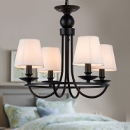 4-Light Black Wrought Iron Chandelier with Cloth Shades (DK-2027-4A)