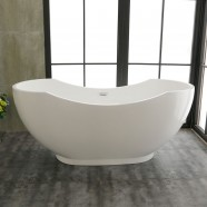 67 In Pure White Acrylic Double Slipper Freestanding Bathtub (DK-PW-60775)
