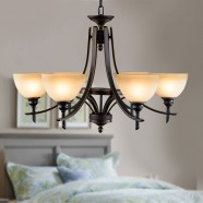 6-Light Black Wrought Iron Chandelier with Glass Shades (DK-8034-6)