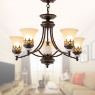 5-Light Black Wrought Iron Chandelier with Glass Shades (DK-1001-5S)