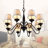 8-Light Black Wrought Iron Chandelier with Cloth Shades (DK-7057-8)