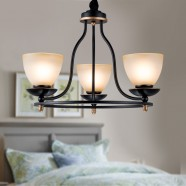 3-Light Black Wrought Iron Chandelier with Glass Shades (DK-2037-3)