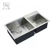 32 x 18 ln. Stainless Steel Double Bowl Kitchen Sink (DTR3218-R10)