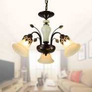 3-Light Black Wrought Iron Chandelier with Glass Shades (DK-1029-3)