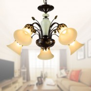 5-Light Black Wrought Iron Chandelier with Glass Shades (DK-1029-5)