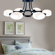 6-Light Black Wrought Iron Chandelier with Glass Shades (DK-1041-6)