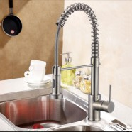 Brushed Nickel Finished Brass Spring Kitchen Faucet - Pull Out Spray Head (82H10-BN-A)