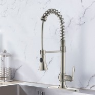 Brushed Nickel Finished Brass Kitchen Faucet - Pull Out Spray Head (D006BN)