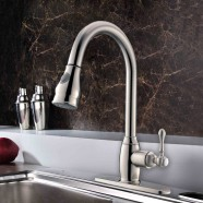 Brushed Nickel Finished Brass Kitchen Faucet - Pull Out Spray Head (D007BN)