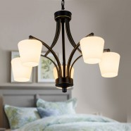 5-Light Black Wrought Iron Chandelier with Cloth Shades (DK-8025-5X)