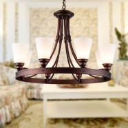 8-Light Black Wrought Iron Chandelier with Glass Shades (DK-8023-8)