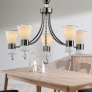 5-Light Black Iron Modern Chandelier with Glass Shades (HKC31333A-5)