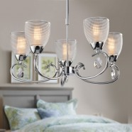 5-Light Chrome Iron Modern Chandelier with Glass Shades (HKP31306-5)