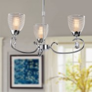 3-Light Chrome Iron Modern Chandelier with Glass Shades (HKP31306-3)