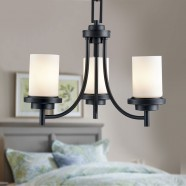 3-Light Black Wrought Iron Chandelier with Glass Shades (DK-8110-3)
